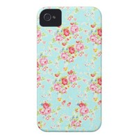 Vintage floral roses blue shabby chic rose flowers iPhone 4 Case-Mate cases