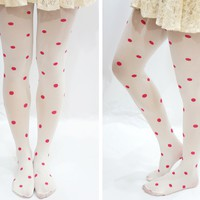 Lolita Pink Polka Dot White Tights