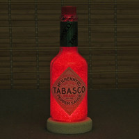 Big 12oz Tabasco Sauce Bottle Lamp Night Light Ruby Red LED Diamond Like Glass Crystals on Interior