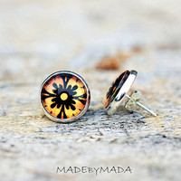 Fall Orange black post Earrings  Fun studs graphic Jewelery, Free WorldWide Shipping from MADEbyMADA