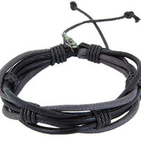 Leather and Cotton Ropes Woven Men Leather Jewelry Bangle Cuff Bracelet Women Leather Bracelet T089