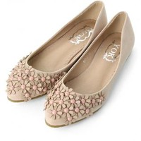 Nude Flats with 3D Floral Bead Detail