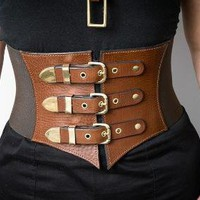 Corset Belt Waist Cincher  Brown Leather and by ZahirasBoudoir