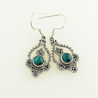 Blue Copper Turquoise Sterling Silver Earrings