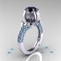 Classic 14K White Gold 1.0 Ct Black Diamond Blue Topaz Solitaire Wedding Ring R410-14KWGBTBD