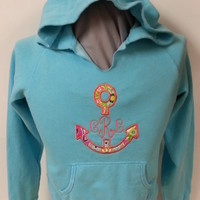 Comfort Color Hooded Sweatshirt w/Appliqued Anchor & Embroidered Initials: Leahbethdesigns