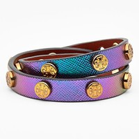 Tory Burch Logo Hologram Leather Wrap Bracelet | Nordstrom