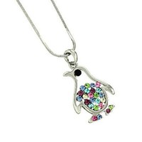 Adorable Little Penguin Pendant Necklace Multicolor Crystals Gift Boxed Fashion Jewelry