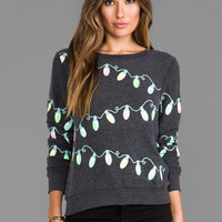 Wildfox Couture Glowing Lights Baggy Beach Jumper in Clean Black