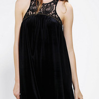 Ecote Studded Velvet & Lace Trapeze Dress - Urban Outfitters