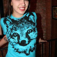 Supermarket - 1AEON NEW Aqua Fox tee - women&#x27;s S (sup) from .1AEON.