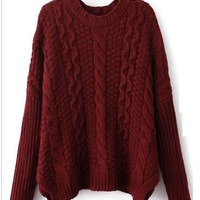 Wine Cable Knit Sweater from Seek Vintage