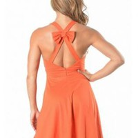 Orange Bow Back Sleeveless Dress