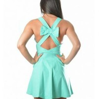 Mint Bow Back Sleeveless Dress