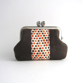 Coin Purse - Mini Jewelry Case with Ring Pillow- dots stripe on brown