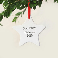 Christmas Ornament Personalized Ornament 1stChristmas Ornament Christmas Decor Holiday home decor Porcelain Ornament White ceramic
