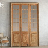 Set of Three Vintage Mirror Doors in Bare Wood with Flecks of Old Cream and Grey Paint