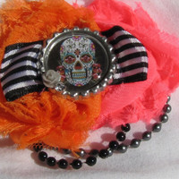 Bright Sugar Skull Cluster Flower Hair Clip (NEON)