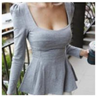 Sexy Gray Peplum Top Other small by Lilik Linawati
