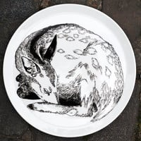 Hand Drawn Serving Plate - Deer Sleeping