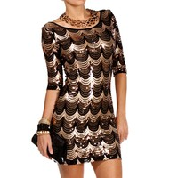 BlackGold Scalloped Sequin Dress