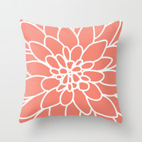 Coral Modern Dahlia Flower Throw Pillow by Aldari Art Studio