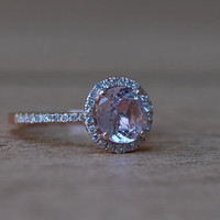 2.18ct round Peach sapphire Champagne sapphire ring diamond ring 14k rose gold Engagement ring
