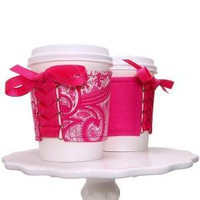 Pretty In Pink Paisley Cup Cozy This Cozy is by TheCozyCorsetCuff