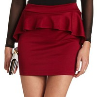 PONTE PEPLUM MINI SKIRT