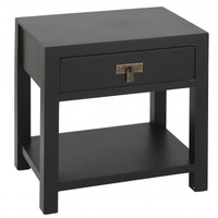 NEW! Rama & Sita Black Bedside Table with Shelf