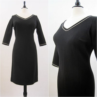 60s Dress Vintage Rhinestone Trim Knit Wiggle Cocktail LBD L