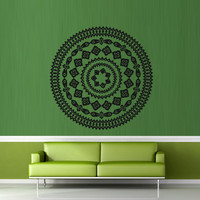 Wall decal decor decals art mandala ohm yoga circle sign Buddhism India symbol (m655)