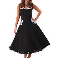 Bettie Page 50s Style Black Polka Dot Trim Swing Dress