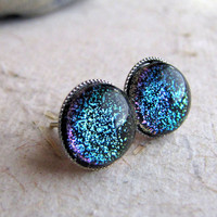 Black Sparkle Earrings - Silver Post Earrings - Zombie Night