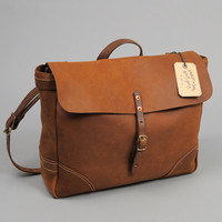 stanley  sons - leather postal messenger bag brown