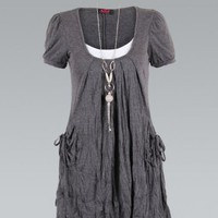 Charcoal Short Sleeve 2 in 1 Mini Dress with Boho Necklace