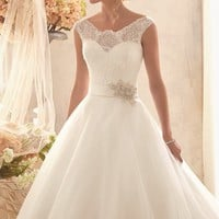 Chantilly Lace Tulle Gown by Bridal by Mori Lee