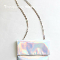 Leather bag Holographic bag Holographic clutch leather clutch Messenger Chain Bag Satchel