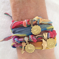SUN, MOON & RISING Sign Zodiac Silk Wrap Charm Bracelet