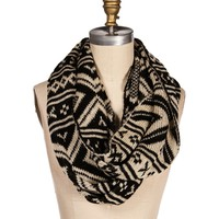 BlackTaupe Tribal Knit Infinity Scarf