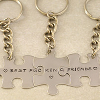 Best F&cking Friends Puzzle Piece Keychains - Set of 3 - BFF Key Chain, Best Bitches - Best Friend Gift - Stainless Steel - Mature