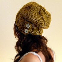 Slouchy Hat Warm Winter Beanie with Buttons / THE SALT CITY / Citrine