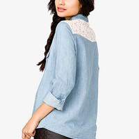 Embroidered Collar Chambray Shirt