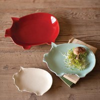 set of three ceramic pig plates