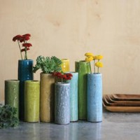 set of nine brightly colored cylinder bud vases three different sizes nine different colors