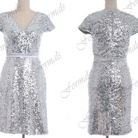 Knee Length Cap Sleeves Sequin Silver Cocktail Dresses, Short Evening Gown, Sequin Evening Dresses, Wedding party Dresses