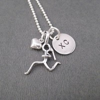 Sterling Silver GIRLS LOVE TO RUN XC - Sterling silver pendants with Sterling or Leather and Sterling Chain