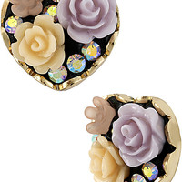 BetseyJohnson.com - FABULOUS FLOWERS HEART STUD EARRING PURPLE
