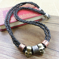2-Pack Leather Bracelets and Necklace-  Wristband - Great For Men, Women, Teens, Boys, Girls 2600s