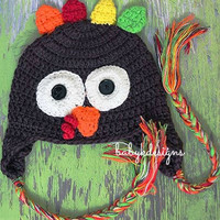 SAVE 15% Crochet Thanksgiving Boy Girl Beanie hat. Crochet TURKEY Beanie ear flaps / Baby Hat / Unisex Brown Gobble Gobble Crochet hat